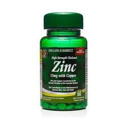 Silnie Działający Cynk Chelat 15 mg z Miedzią 60 Tabletek